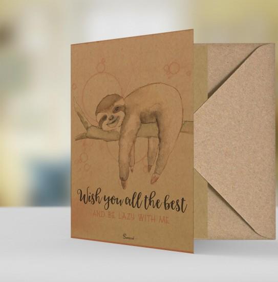 Geschenkkarte Grußkarte Natur Öko - Faultier sloth Wish you all the best be lazy