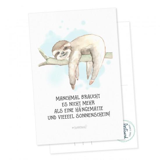 Postkarte Faultier - Manchmal braucht es nicht mehr als eine Hängematte und vieeeel Sonnenschein!
