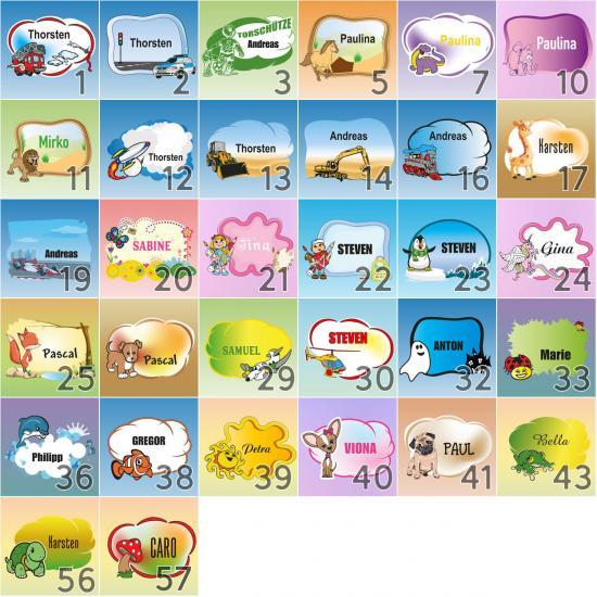 Türaufkleber Personalisierter Namensaufkleber für das Kinderzimmer, im Stil der Namensetiketten mit den Bekannten Motiven - 32 Hintergründe