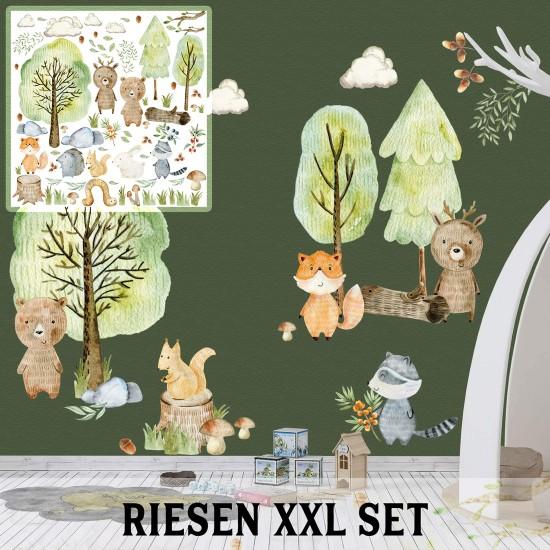 Waldtiere Woodland Wandtattoo XXL Set verschiedene Motive| Kinderzimmer Aufkleber bunt Wanddeko
