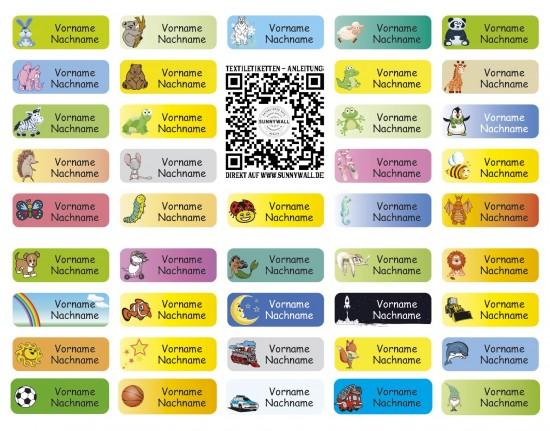 Textil-Etiketten, Aufbügel-Etiketten 3,8x1,4cm | 37 Stück für Kinder Schule und Kindergarten - 42 Motive