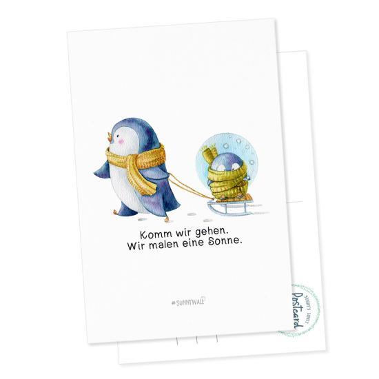 Postkarte Pinguin Nigel Komm wir gehen. Wir malen eine Sonne