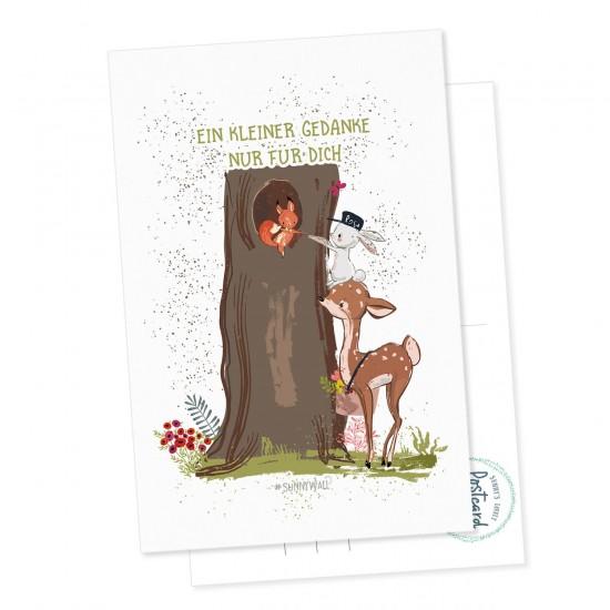 Postkarte Geschenkkarte Hase Rehkid Eichhörnchen Ein kleiner Gedanke nur für Dich