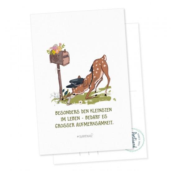 Postkarte Geschenkkarte Rehkid & Maus - Den kleinsten im Leben Bedarf es grosser Aufmerksamkeit