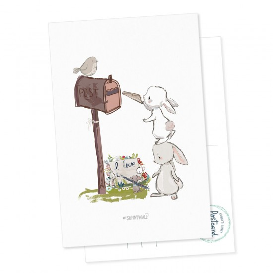 Postkarte Geschenkkarte Hase & Maus I love you Briefkasten