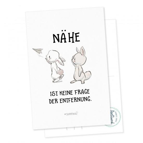Postkarte Geschenkkarte Hase rabbit Postbote Nähe ist keine Frage der Entfernung