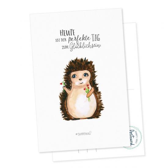Postkarte - Igel Heute ist der perfekte Tag zum Glücklichsein Grußkarte Glückwunschkarte Geburtstagskarte
