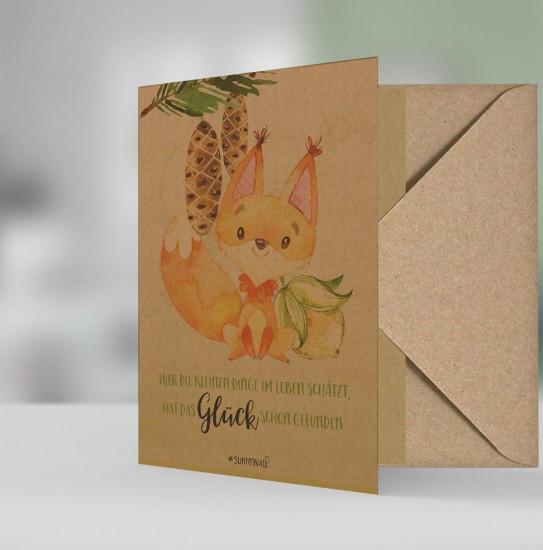 Geschenkkarte Grußkarte Natur Öko -  Eichhörnchen kleinen Dinge Glück