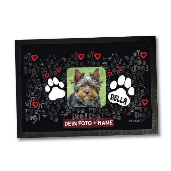 Fußmatte Hund I love my dog! Personalisiert mit eigenem Foto und Wunschname