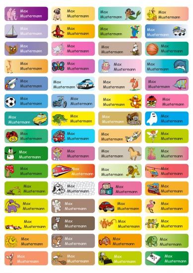 Aufkleber Sticker 4,8x1,6cm | 60 Stück für Kinder Schule und Kindergarten 75 Hintergründe