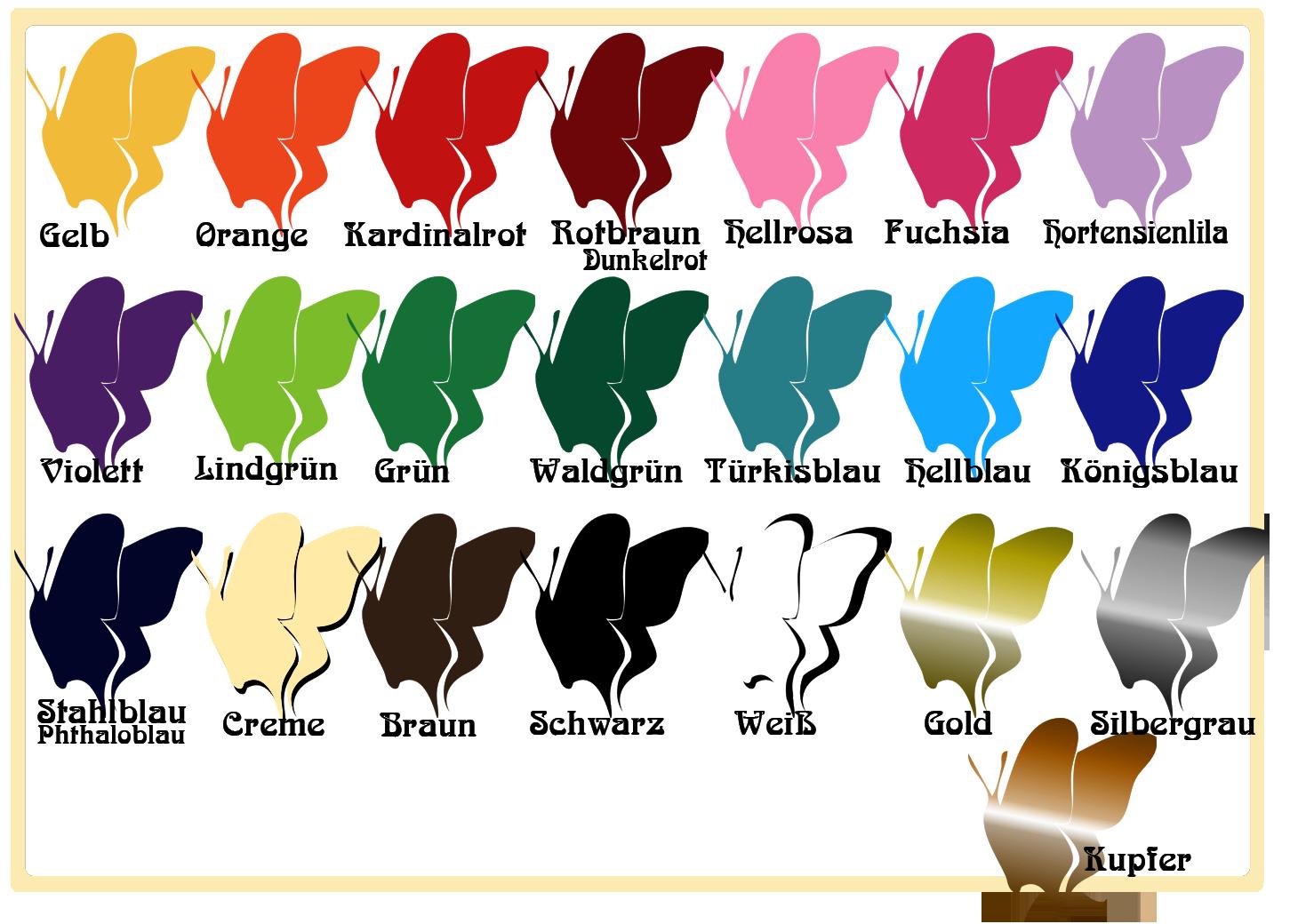 Farbtabelle für Wandtattoos