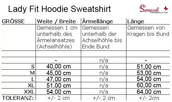 Größentabelle Ladien-Shirts