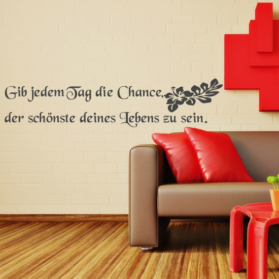 wandspruch tag chance f r wohnzimmer wohnbereich wandtattoo sunnywall online shop. Black Bedroom Furniture Sets. Home Design Ideas