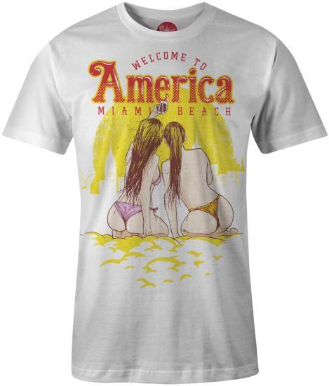 660006e16692bd T-Shirt - American Miama Beach sexy girls style Uni