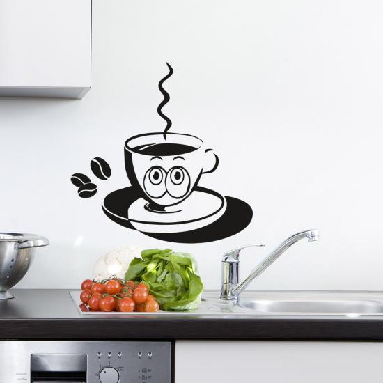 Wandtattoo Kaffee Tasse Ted Glubschi Küche Entzug