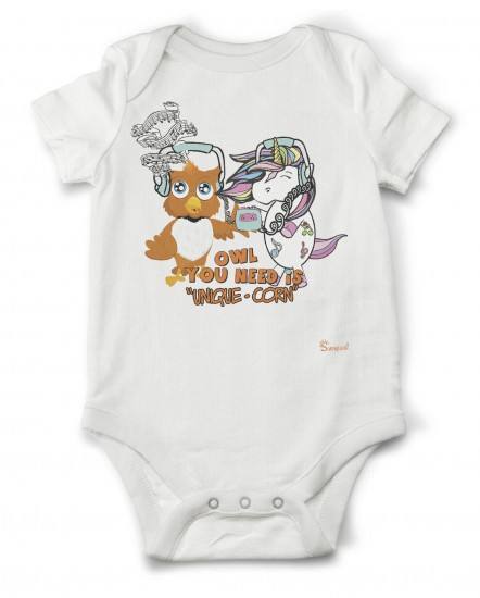 Owl you need is Unicorn Eule | Baby Body Strampler Bodysuite 100% Bio Baumwolle Unisex