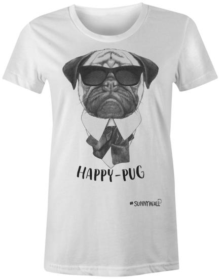 Happy-Pug cool Mops Ladies T-Shirt weiss
