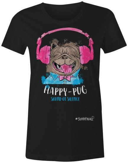 Happy-Pug cool Mops Ladies T-Shirt sound of silence schwarz