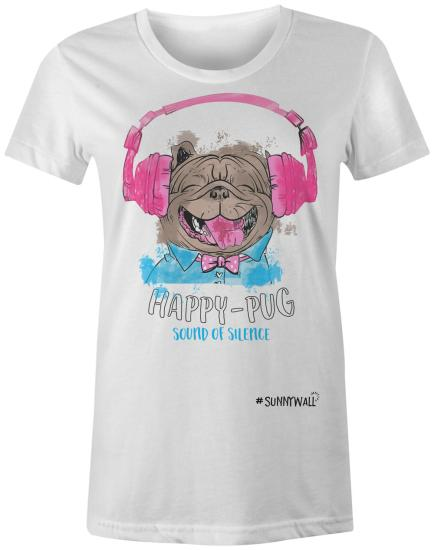 Happy-Pug cool Mops Ladies T-Shirt sound of silence weiss