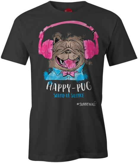 Happy-Pug cool Mops Uni T-Shirt sound of silence schwarz