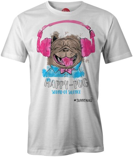 Happy-Pug cool Mops Uni T-Shirt sound of silence weiss