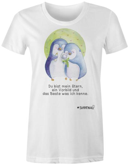 Pinguin Ladies T-Shirt Familie Nigel Stern Vorbild weiss