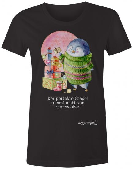 Pinguin Ladies T-Shirt Familie Nigel perfekte Stapel Irgendwoher Weihnachten schwarz