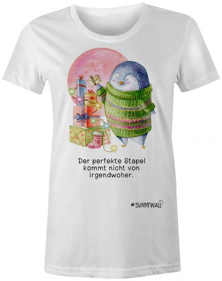 Pinguin Ladies T-Shirt Familie Nigel perfekte Stapel Irgendwoher Weihnachten weiss