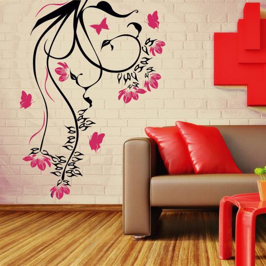 blumenranke shelly f r wohnzimmer wohnbereich wandtattoo sunnywall online shop. Black Bedroom Furniture Sets. Home Design Ideas