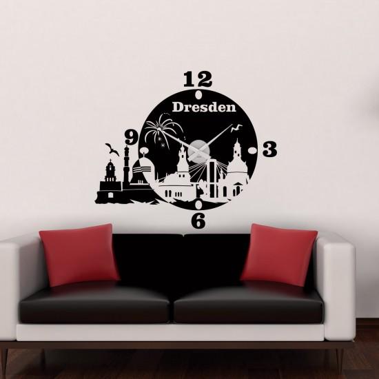wanduhr dresden als skyline sunnywall online shop. Black Bedroom Furniture Sets. Home Design Ideas