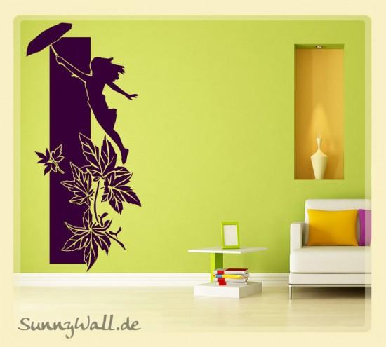 wandtattoo fliegende frau mit schirm sunnywall online shop. Black Bedroom Furniture Sets. Home Design Ideas
