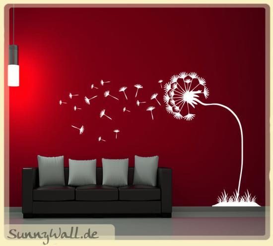 pusteblume im wind f r wohnzimmer wohnbereich wandtattoo sunnywall online shop. Black Bedroom Furniture Sets. Home Design Ideas