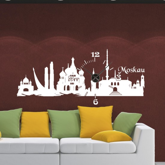 wandtattoo uhr skyline art moskau moscow sunnywall online shop. Black Bedroom Furniture Sets. Home Design Ideas