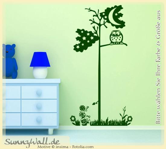wandtattoo wandaufkleber baum eule schecke gras sunnywall online shop. Black Bedroom Furniture Sets. Home Design Ideas