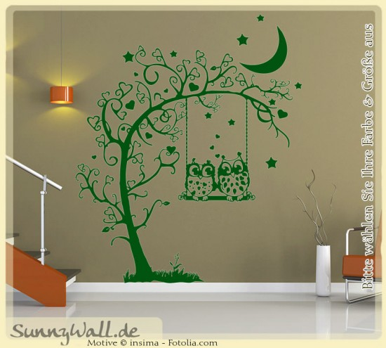 wandtattoo 2 eulen auf schaukel herzen baum sunnywall online shop. Black Bedroom Furniture Sets. Home Design Ideas