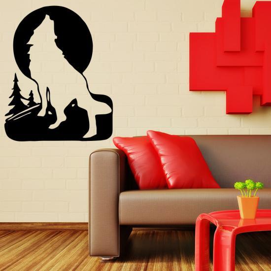 wandtattoo wolf f r wohnzimmer wohnbereich wandtattoo sunnywall online shop. Black Bedroom Furniture Sets. Home Design Ideas