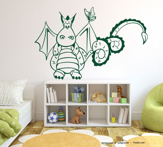 wandtattoo wandaufkleber dino saurier mit schmetterling sunnywall online shop. Black Bedroom Furniture Sets. Home Design Ideas