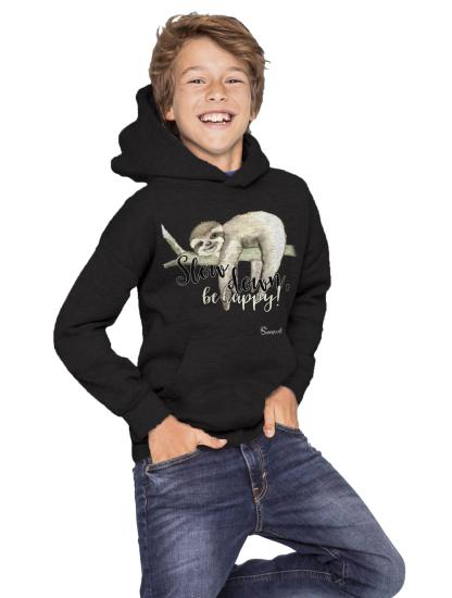 Faultier sloth kids Kinder Sweatshirt Hoodie Slow down be happy