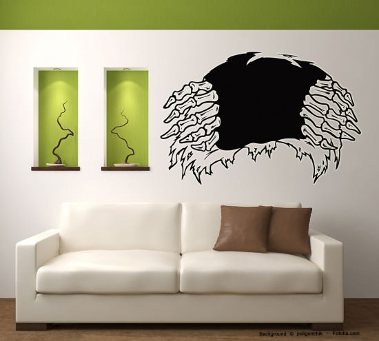 wandtattoo halloween aufkleber skelett durchbruch sunnywall online shop. Black Bedroom Furniture Sets. Home Design Ideas