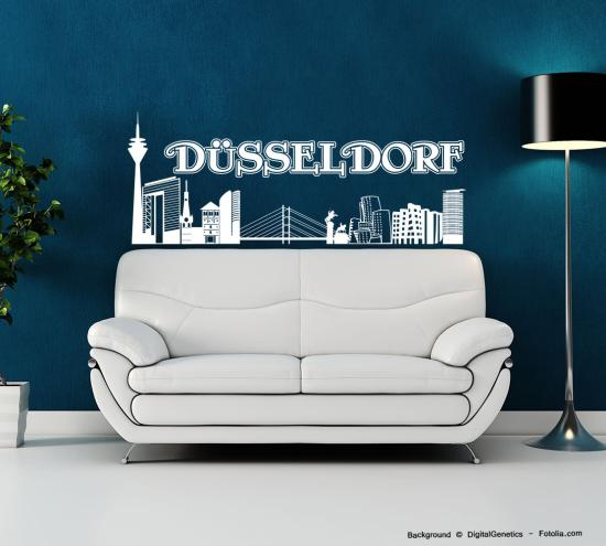 wandtattoo wandaufkleber d sseldorf skyline deutschland sunnywall online shop. Black Bedroom Furniture Sets. Home Design Ideas