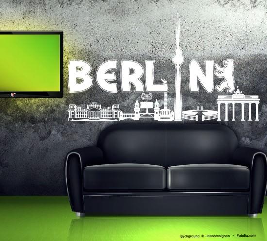 wandtattoo wandaufkleber berlin skyline stadt sunnywall online shop. Black Bedroom Furniture Sets. Home Design Ideas