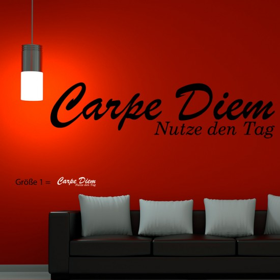 Wandspruch carpe diem f r wohnzimmer wohnbereich wandtattoo sunnywall online shop - Wandspruche wohnzimmer ...