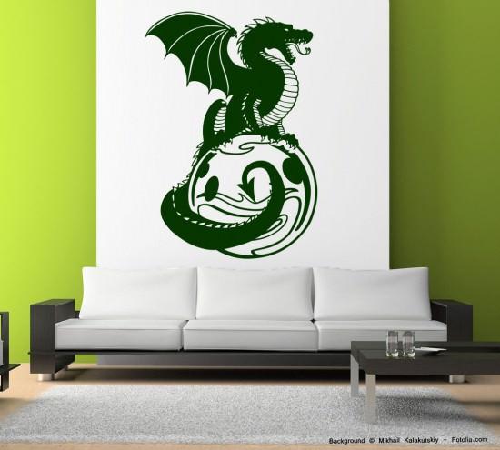 wandtattoo wandaufkleber drache dragon auf planeten sunnywall online shop. Black Bedroom Furniture Sets. Home Design Ideas