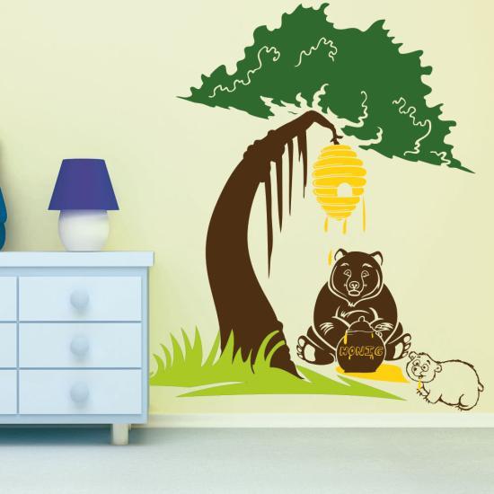 Wandtattoo baum b r mit honigtopf und b ren baby sunnywall online shop - Wandtattoo baby baum ...