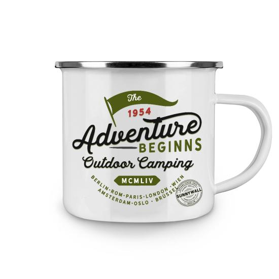 Emailletasse Fototasse Tasse outdoor Camping the Adventure beginns