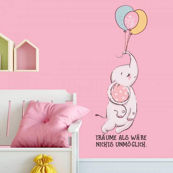 wandtattoo  elefant mit luftballons mitohne spruch
