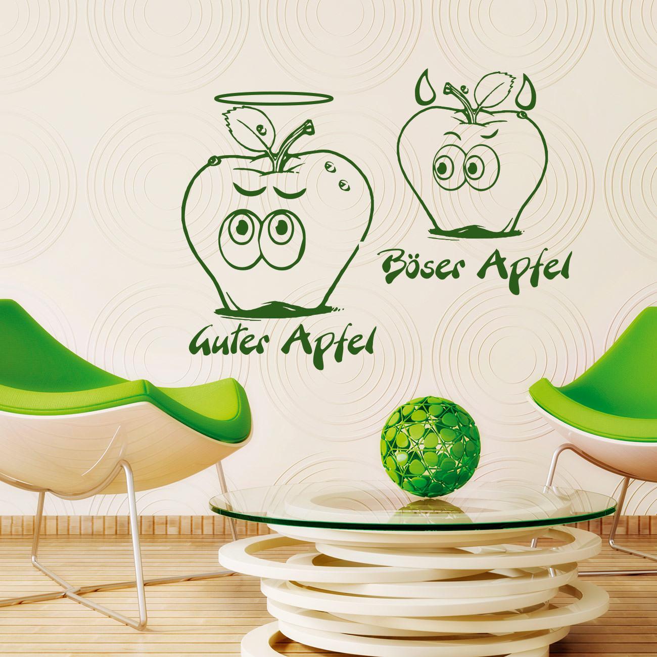 Guter Apfel Böser Apfel bad apple good Wandtattoo