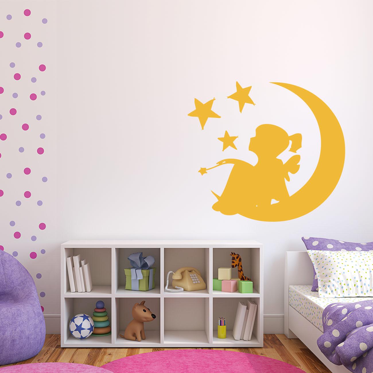 mondkind mondengel f r wohnzimmer kinderzimmer wandtattoo sunnywall online shop. Black Bedroom Furniture Sets. Home Design Ideas