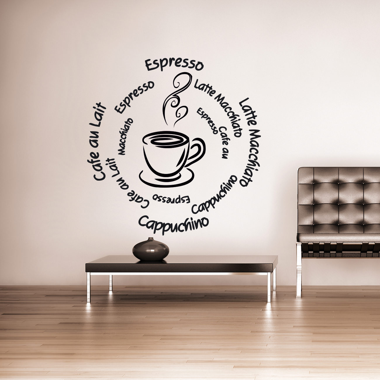 kaffeesorten mocca cappucchino espresso f r wohnzimmer k che wandtattoo. Black Bedroom Furniture Sets. Home Design Ideas