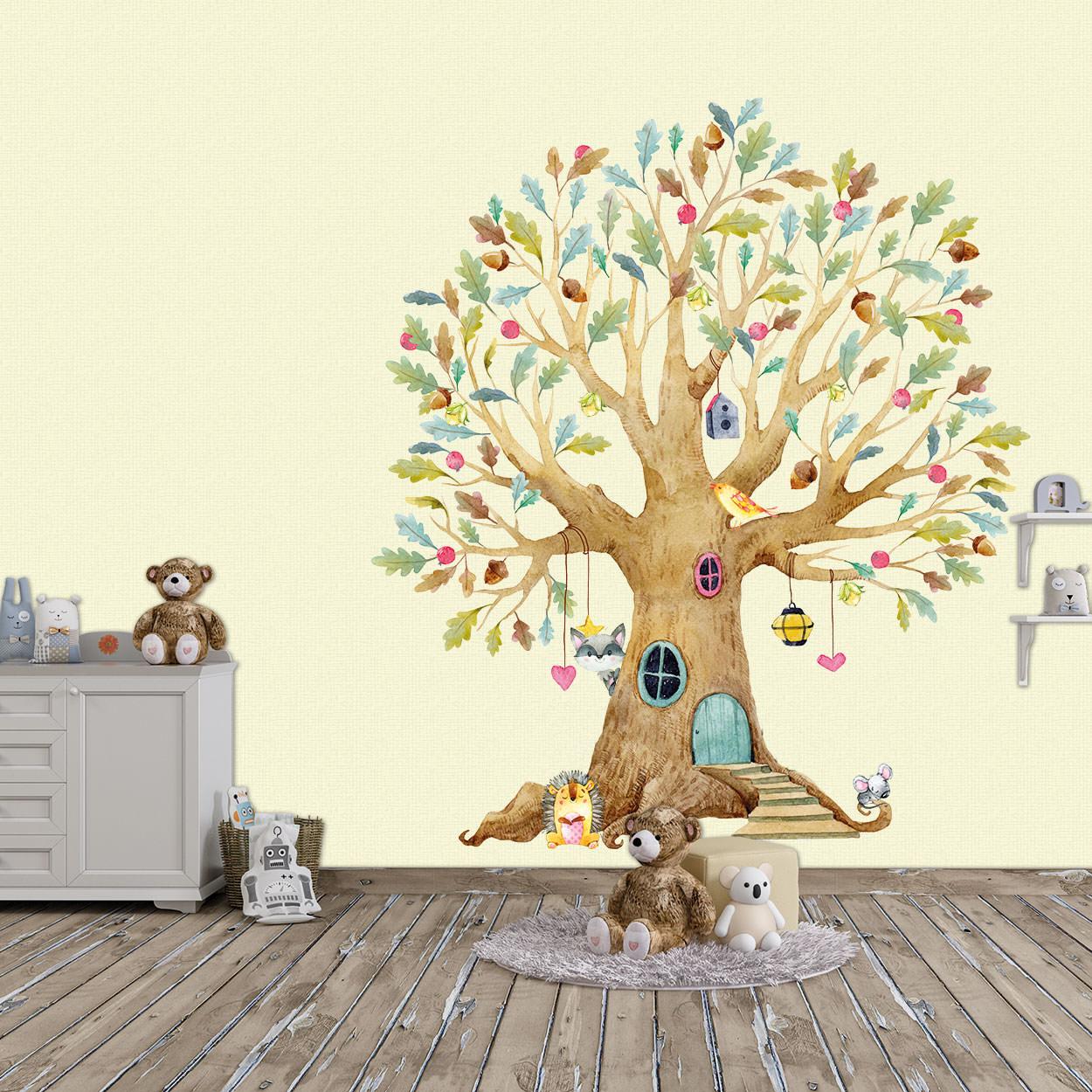 Wandtattoo Aufkleber Herbstbaum Baum mit Igel, Waschbär, Maus und Vogel mit  Blättern